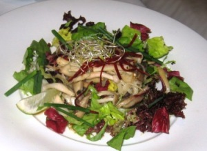 mushroom salad from silk road in cabin