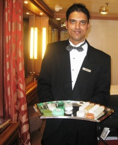 Bryan our Silver Spirit butler brings an assortment of cosmetics